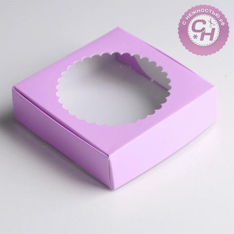 Коробка самосборная с окном, 11,5*11,5*3 см, 1 шт.