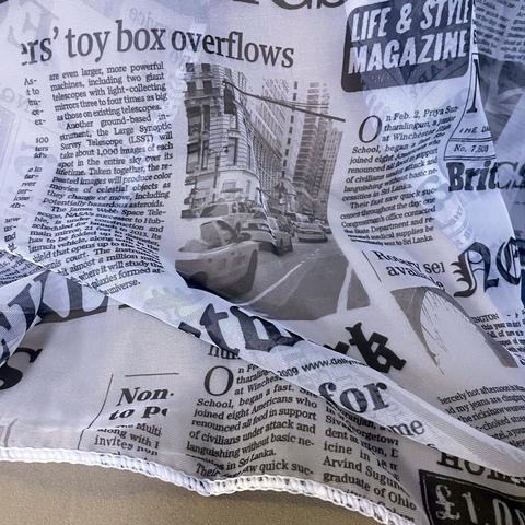 Тюль газета серая. В упакове - 1 шт. 300 х 270 см. 500777