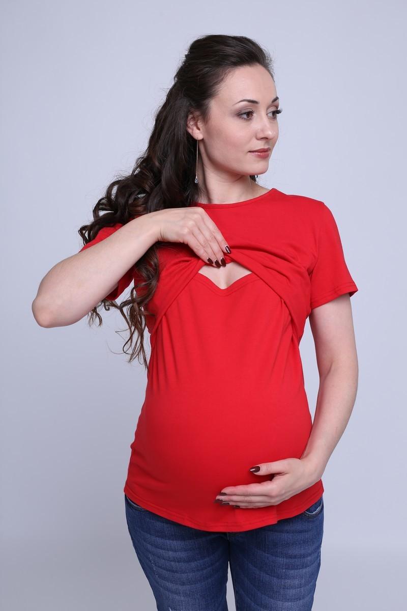 Футболка для беременных и кормящих 07070 красный