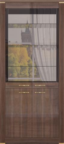 Шкаф для посуды 2-х дверный Париж №16 Ижмебель дезира темная/орех натуральный глянец