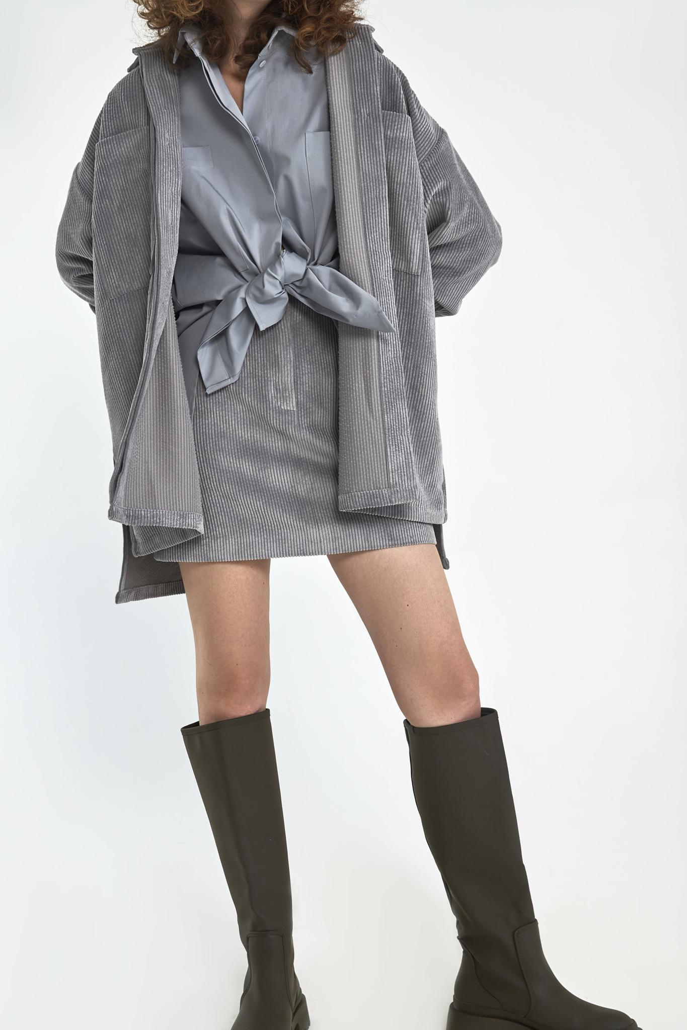 Юбка мини из вельвета с гульфиком, серый