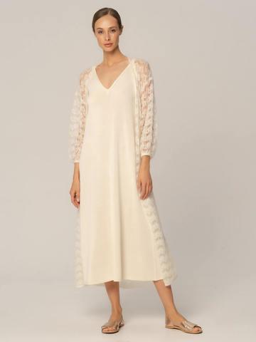 Женское платье белого цвета из шелка и вискозы - фото 5