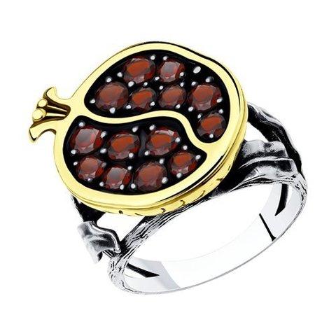 92011937  - Кольцо из серебра с гранатами