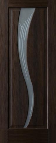 Дверь 4/7  белое стекло (африканский орех, остекленная экошпон), фабрика Ладора