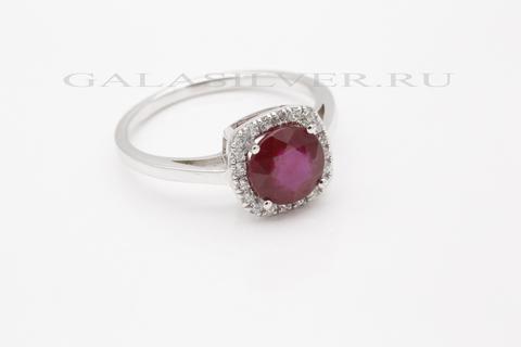 Кольцо с рубином и фианитом из серебра 925