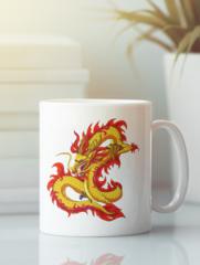 Кружка с изображением Дракон (Dragon) белая 003