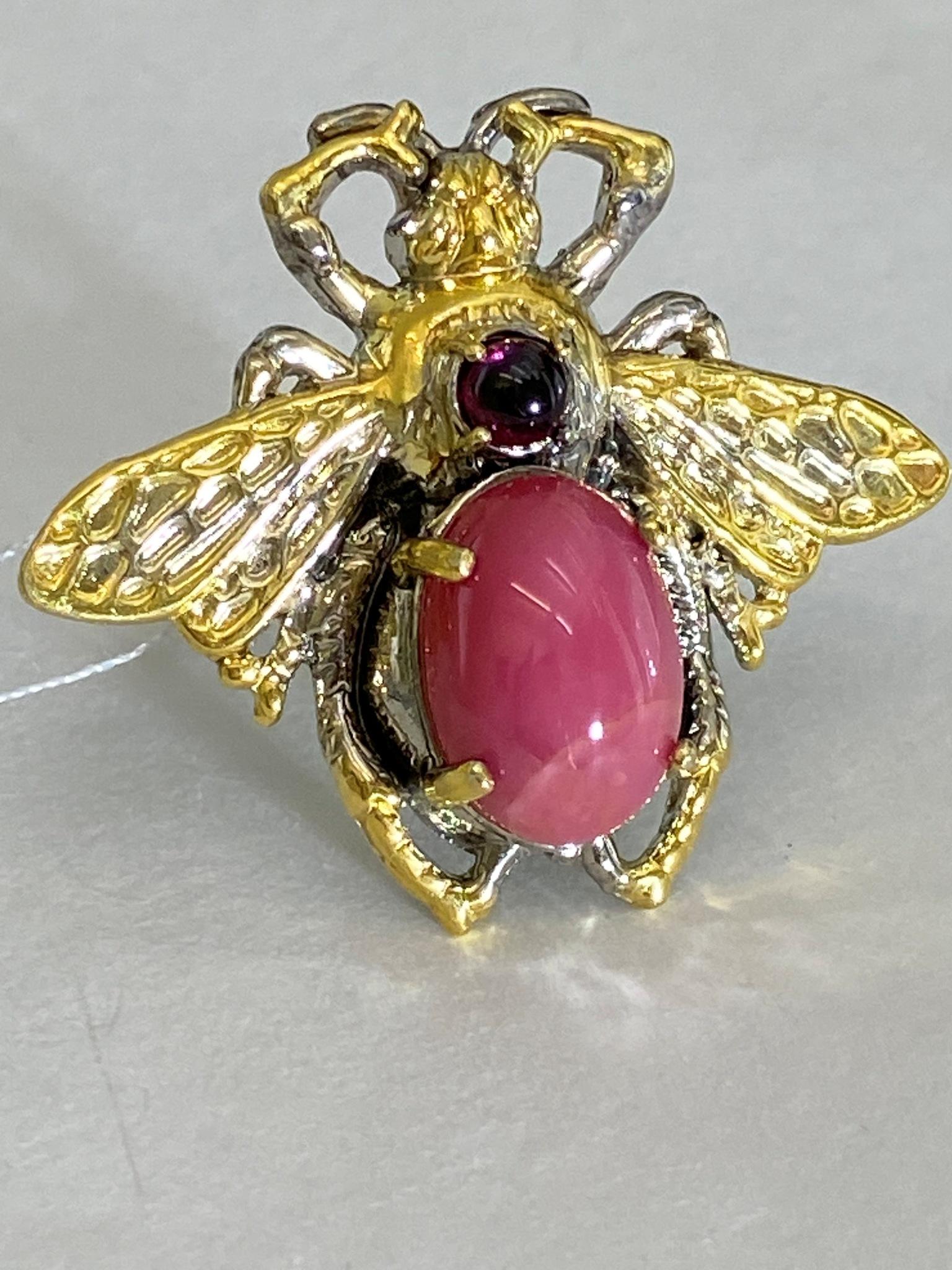 Жук-родонит (кольцо из серебра с позолотой)
