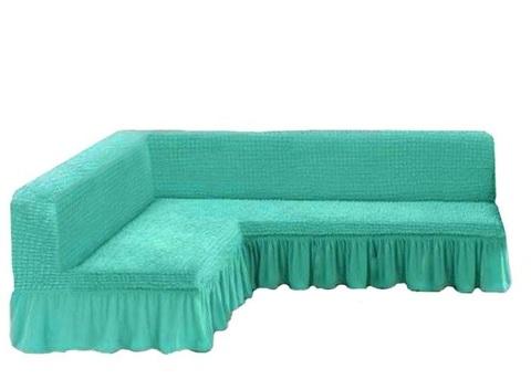 Чехол на угловой диван без подлокотников, бирюзовый