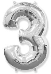 Воздушный шар (40''/102 см) Цифра, 3, Серебро, 1 шт.