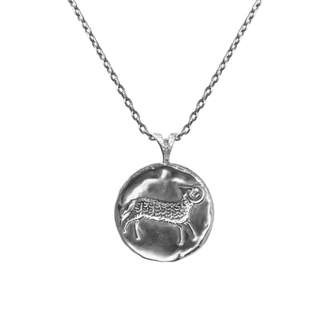 Pendant, Zodiac sign Aries on a chain, sterling  silver
