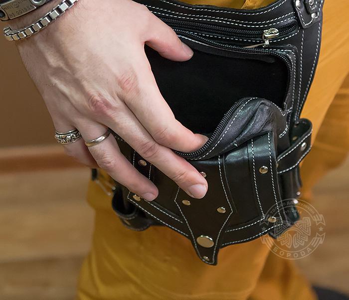 BAG373-1 Мужская сумка на бедро из натуральной кожи, ручная работа фото 06