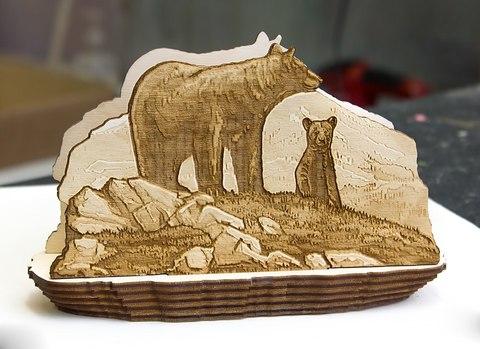 Салфетница ДекорКоми из дерева Медведи