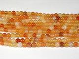 Нить бусин из агата халцедонового, шар гладкий 6мм