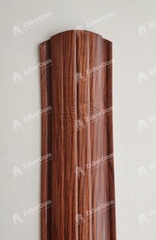 Евроштакетник металлический 110 мм Темное дерево 3D полукруглый 0.5 мм