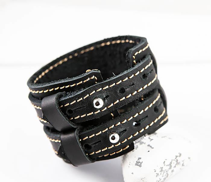 BL391-3 Широкий черный браслет ручной работы из натуральной кожи. «Boroda Design» фото 07