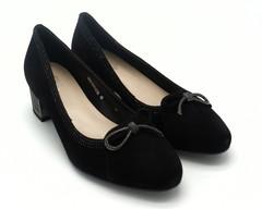 Туфли женские черные замшевые на устойчевом каблуке с отделкой по канту