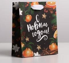 Пакет крафтовый вертикальный «Новогодние мандарины», S 12 × 15 × 5.5 см, 1 шт.