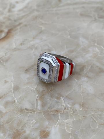 Кольцо-печатка из серебра с красной и белой эмалью и синим цирконом