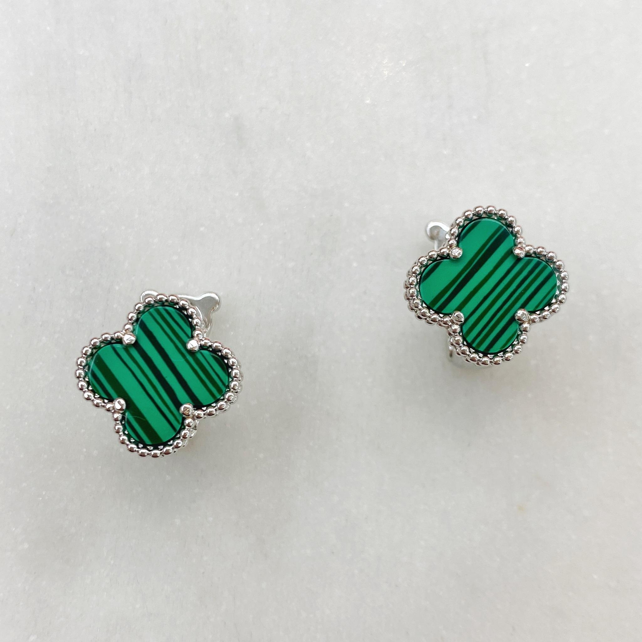 Серьги Клевер (зеленый, серебристый)