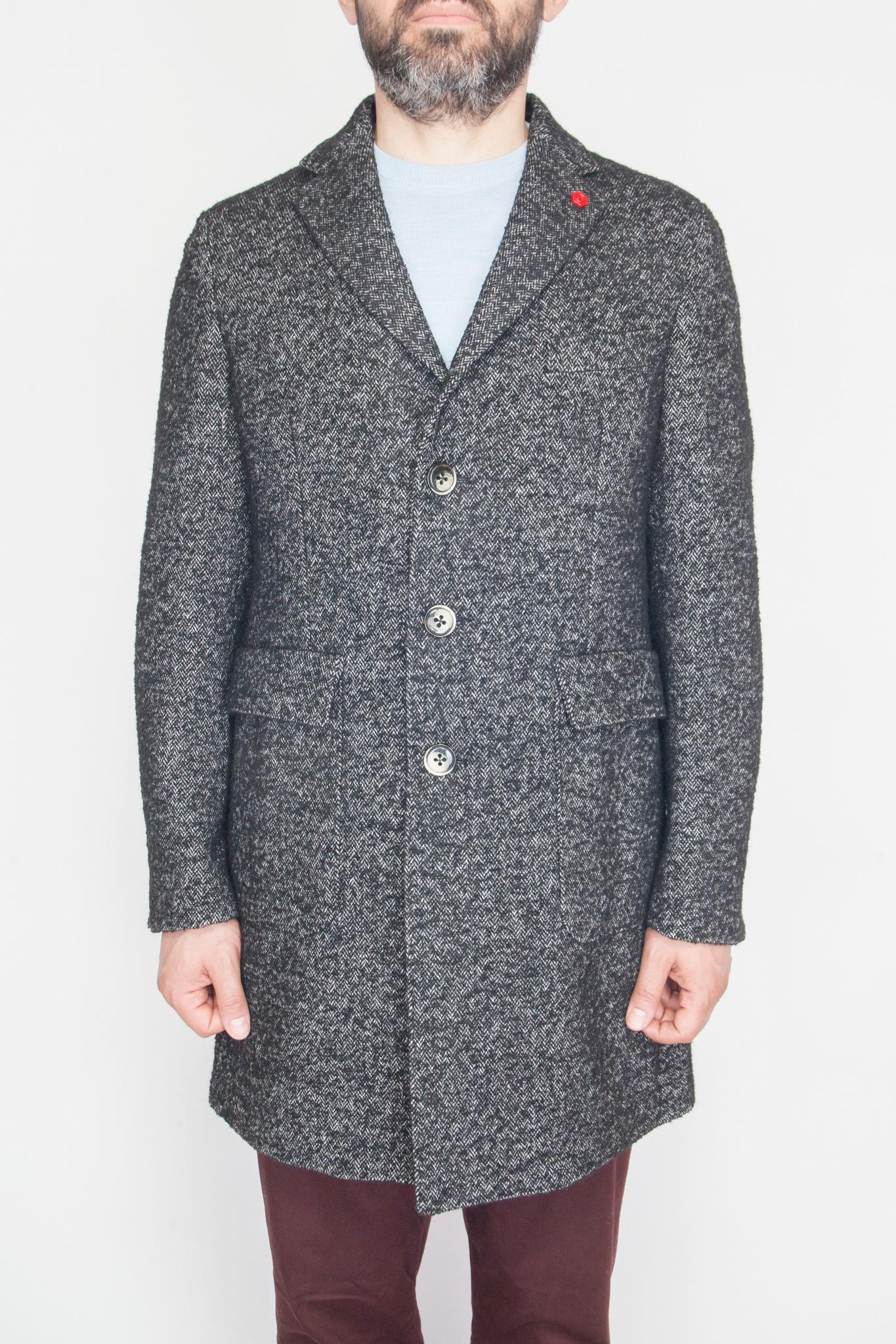 Классическое тёмно-серое пальто из смеси хлопка и шерсти