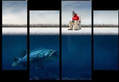 """Модульная картина """"Зимняя рыбалка"""""""