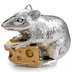 Символ 2020 года – Фигурка Мышь с сыром. Серебро