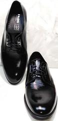 Дерби туфли мужские из натуральной кожи черные лакированные Ikoc 2118-6 Patent Black Leather