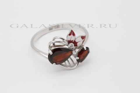 Кольцо с гранатом, эмалью и фианитом из серебра 925
