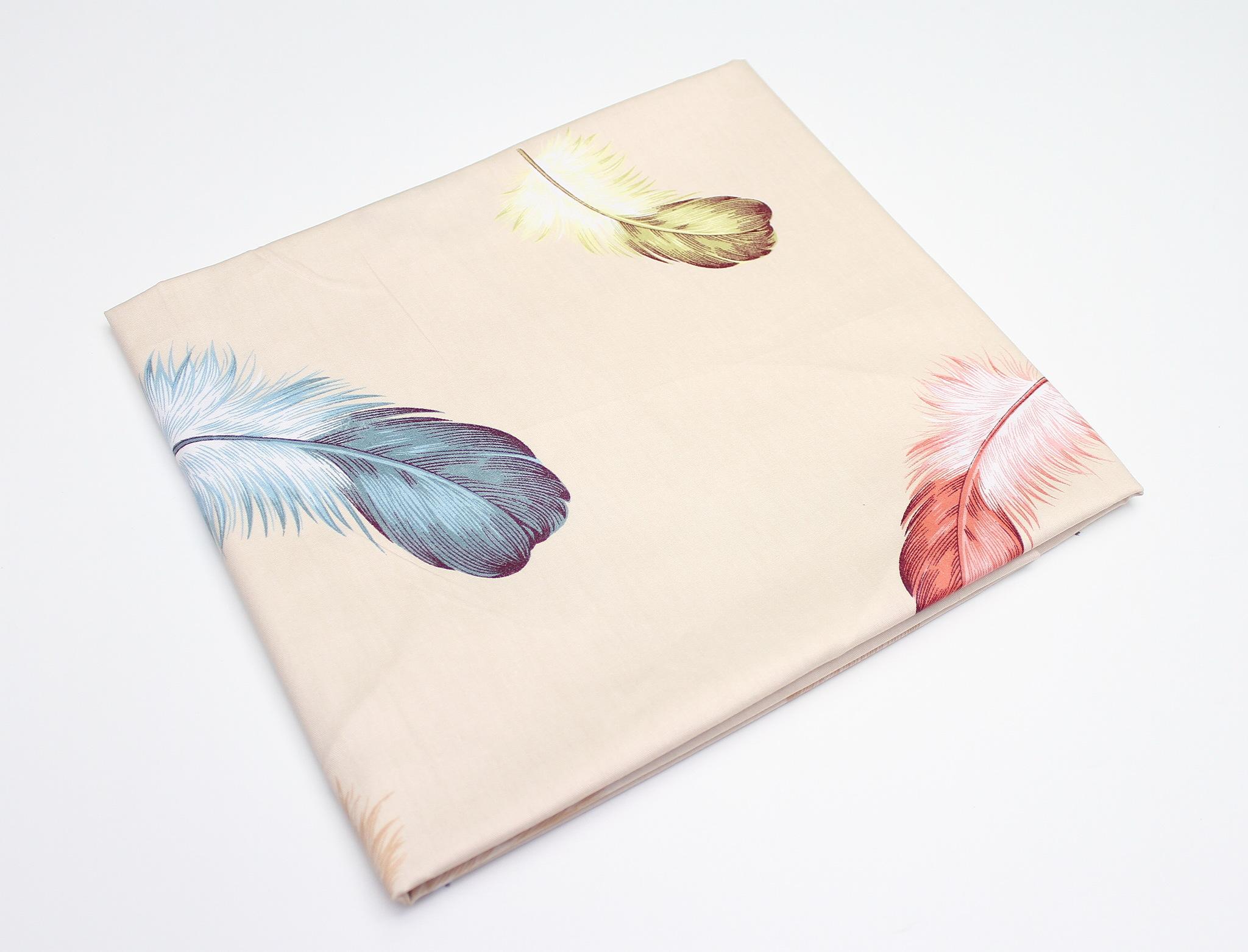 Перья цветные на бежевом