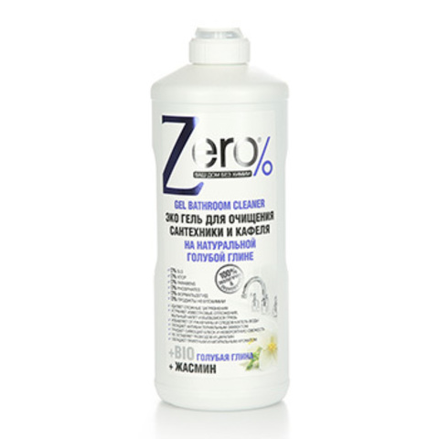 ZERO Эко Гель для очищения сантехники и кафеля на натуральной голубой глине для ванной и душа,  500 мл