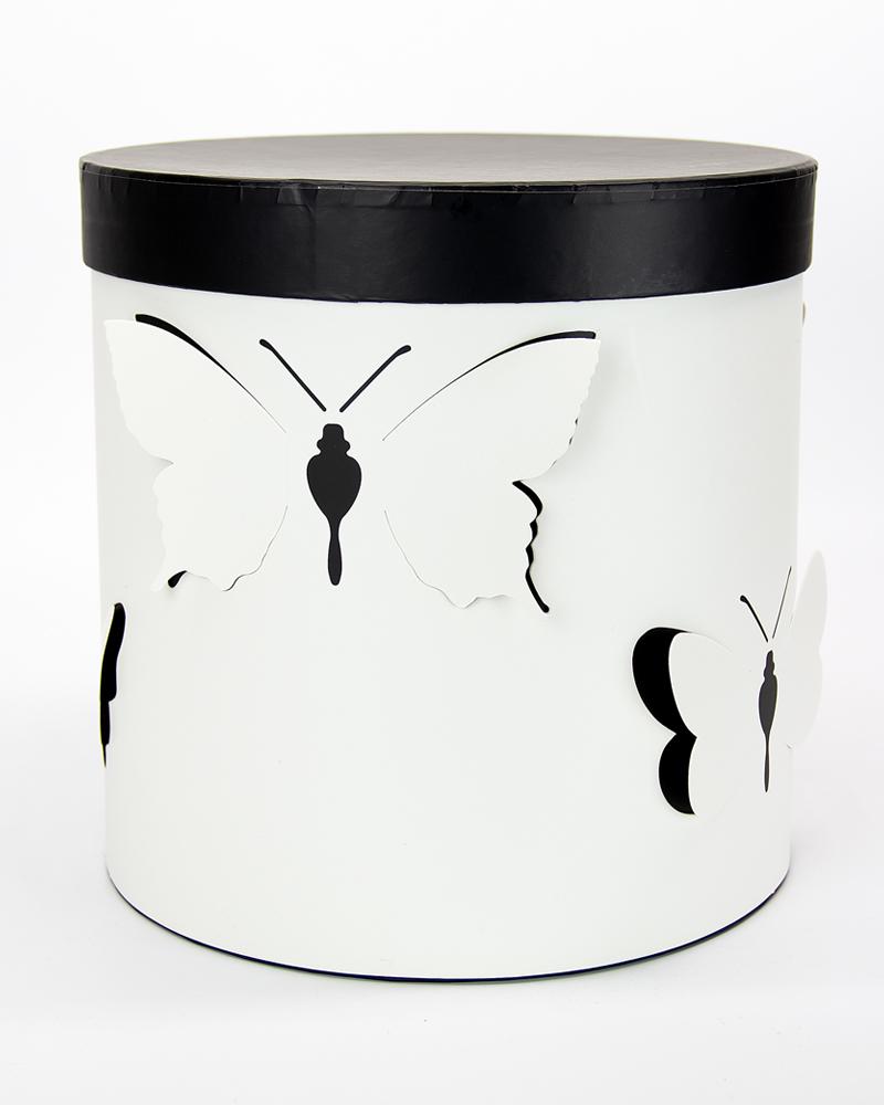 Коробка Цилиндр Белый-Черный  Большая (с бабочками)