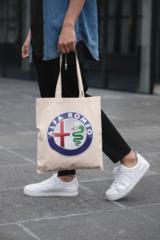 Мужская сумка-шоппер с принтом Альфа Ромео (Alfa Romeo) бежевая 001