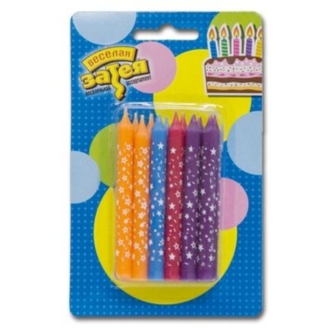 Свечи в торт Звезды разноцветные 12 шт.