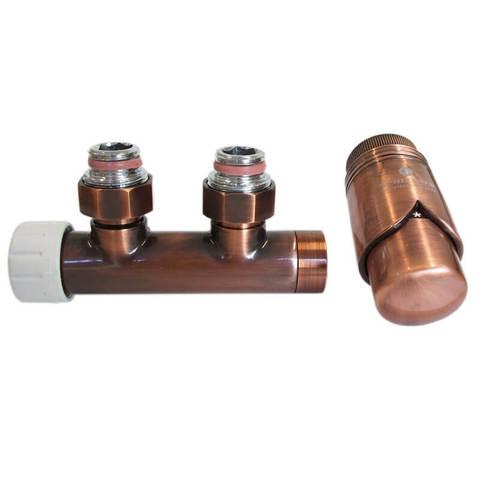 Узел подключения DUO-PLEX Медь Антик Угловой, левый. 3/4 x М22x1,5 + 2 Ниппеля 1/2x3/4