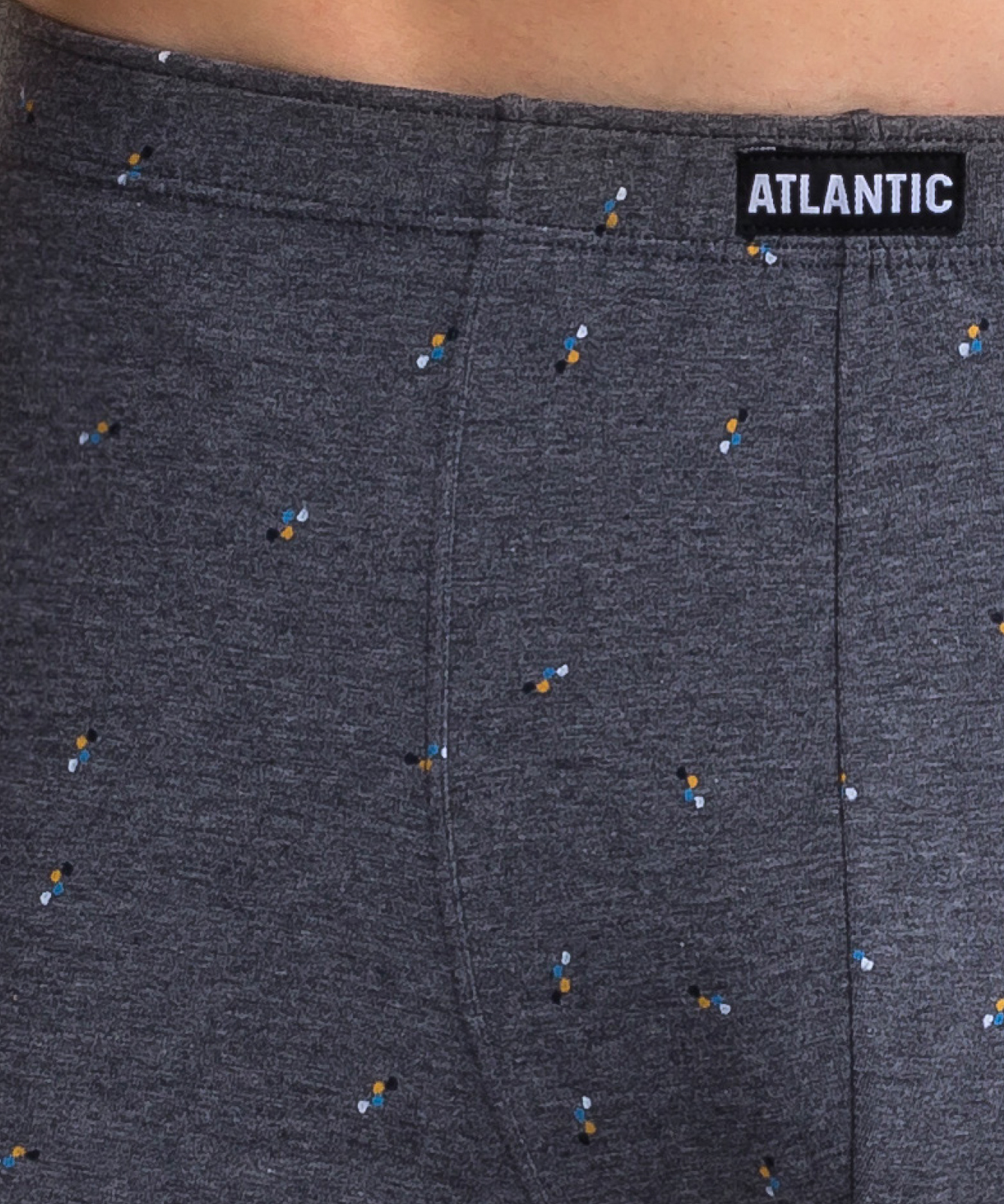 Мужские трусы шорты Atlantic, набор из 3 шт., хлопок, темно-серый меланж + темно-синие + темно-синий меланж, 3MH-025