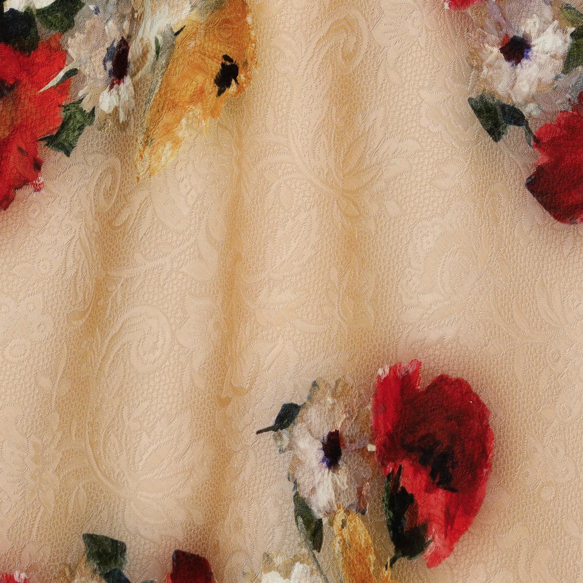 Хлопковое матлассе с шёлком цветочные пятна на персиковом