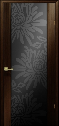 Дверь Модерн (стекло чёрное цветы) (венге, остекленная шпонированная), фабрика LiGa