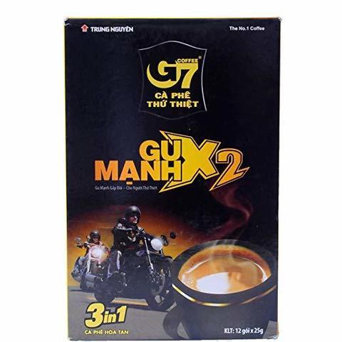 Растворимый кофе крепкий G7 «Gu Manh X2» 3в1. Коробка 24х12 штук.