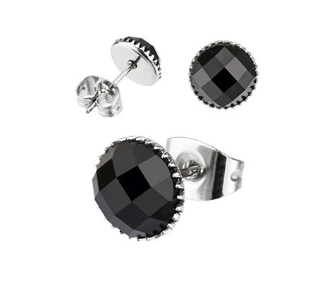 SER110-6K Мужские серьги из стали с черным камнем (6 мм), «Spikes»