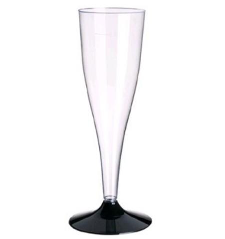 Фужер для шампанского с черной ножкой Флюте  ДИ 150/180 мл