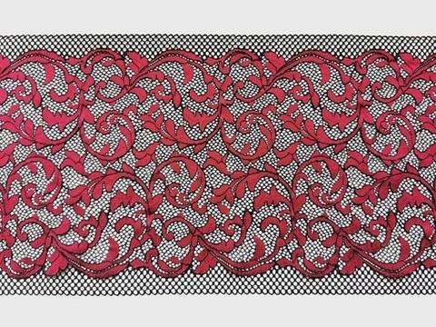 Эластичное кружево, черный и темно-красный, 23см (Артикул: EK-1037), м