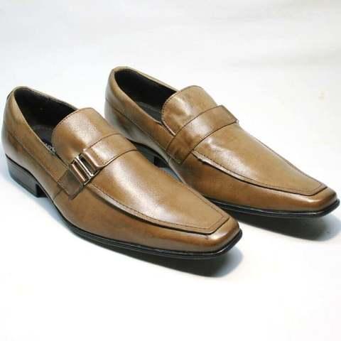 Мужские кожаные туфли лоферы. Коричневые туфли с квадратным носом Mariner L-B.