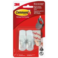 Крючок Command белый нагрузка до 0.45 кг (2 штуки + 4 клейких полоски)