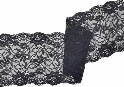 Эластичное кружево, ОПТ, 21 см, черное, м, (Арт: EK-2276), м