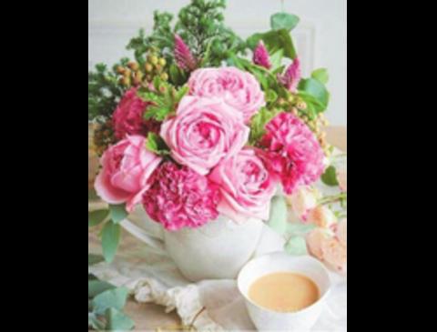 Алмазная Мозаика 30x40 Розовый букет и чашечка кофе (арт. AR8723)
