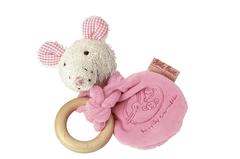 Мягкая игрушка Кате Крузе (Kathe Kruse) Мышка Лолла радуга с деревянным кольцом