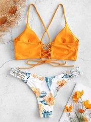 Купальник раздельный с лямками и шнуровкой сзади желтый цветочный принт 2