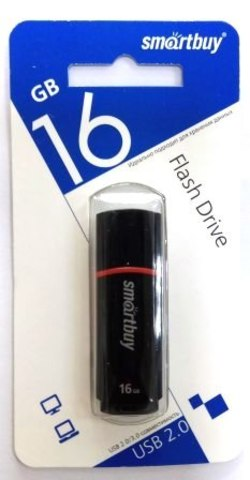 Флеш-накопитель USB  16GB  Smart Buy  Crown чёрный COMPACT