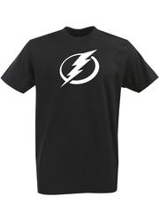 Футболка с однотонным принтом НХЛ Тампа-Бэй Лайтнинг (NHL Tampa Bay Lightning) черная 001