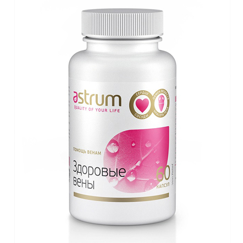 Astrum БАДы: Биодобавка Помощь венам (Здоровые вены), 60капсул